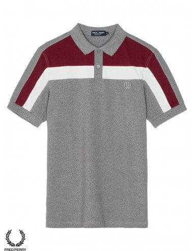 Fred Perry Sports Colour Block Piqué Polo Steel Marl