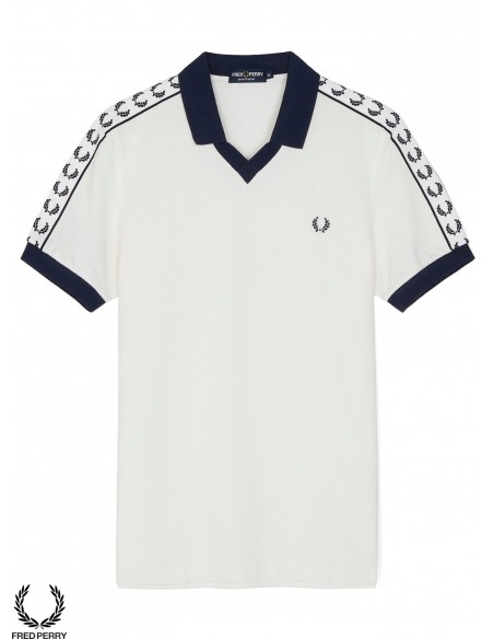 Fred Perry Sports Taped Piqué Polo Blanco