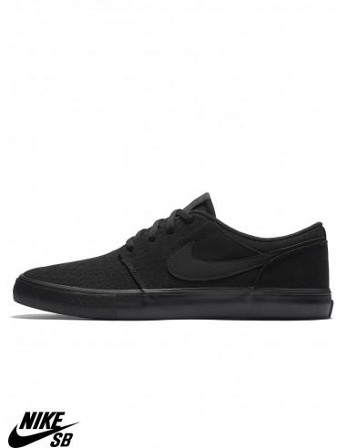 5182a360157c Nike SB Solarsoft Portmore II Black Skate Shoes