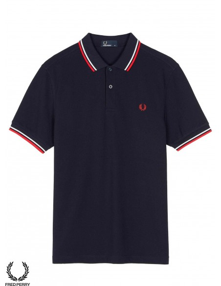 Fred Perry Shirt M3600 Bleu Rouge