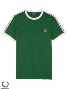 6a350a2a2 Fred Perry Sports Taped Ringer Tartan Green ...