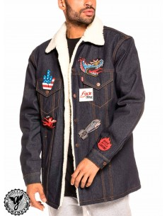 Grimey Runaway Sleeve Denim Jacket Blue
