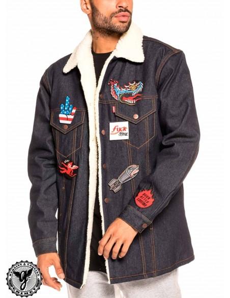 Grimey Runaway Sleeve Denim Jacket Blue