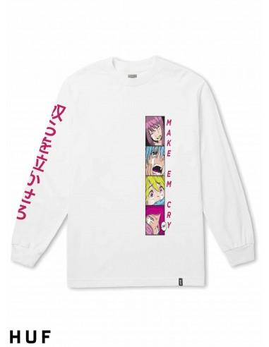 Manga Make Blanco Camiseta Cry De Huf Em Larga EeH2YWbD9I