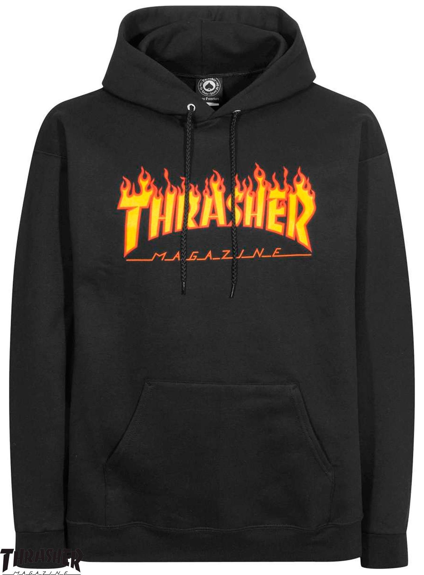 9b8555e23dfd Thrasher Flame Logo Black Hoodie