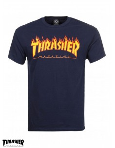 Thrasher Flame Logo Navy T-Shirt