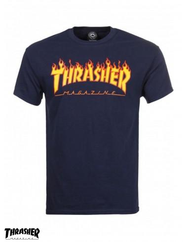 Thrasher Flame Logo Navy T-Shirt