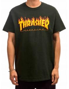 Camiseta Thrasher Flame Logo Forest Green