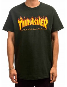 T-Shirt Thrasher Flame Logo Forest Green