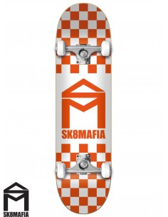 SK8MAFIA House Logo Checker Orange 8.0 Complete Skateboard
